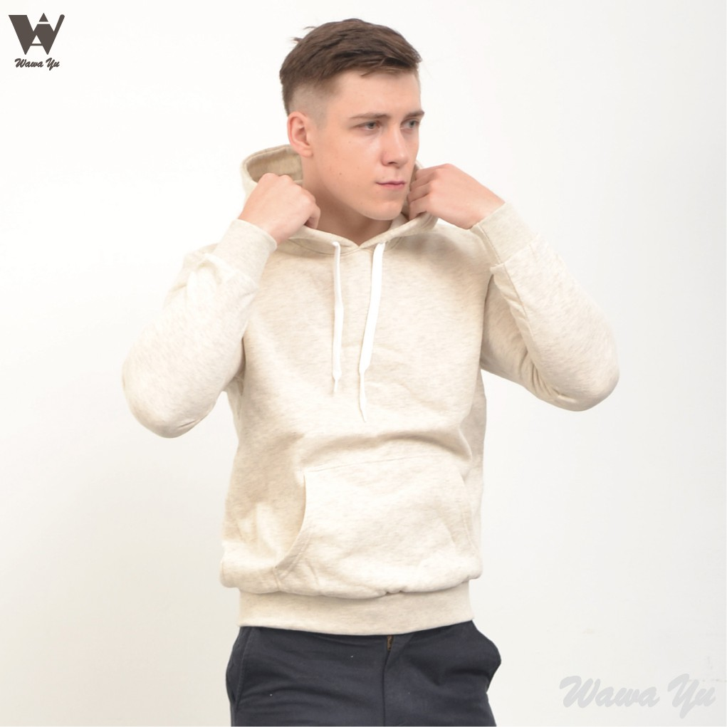 [新品]-帽T-不起毛-長袖厚棉刷毛口袋連帽上衣-麻花白-男版 (尺碼S-2XL) [Wawa Yu品牌服飾]