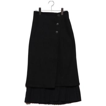 スタイルブロック STYLEBLOCK フェイクウールプリーツ切替スカート (ブラック)