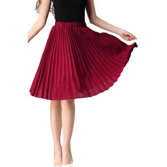 ASHERANGELレディース 膝丈 プリーツスカート 通勤 ベーシック スカート シンプル ふんわり ウエストゴム 着痩せ 無地 ひざ丈 13カラー フリーサイズ ワイン