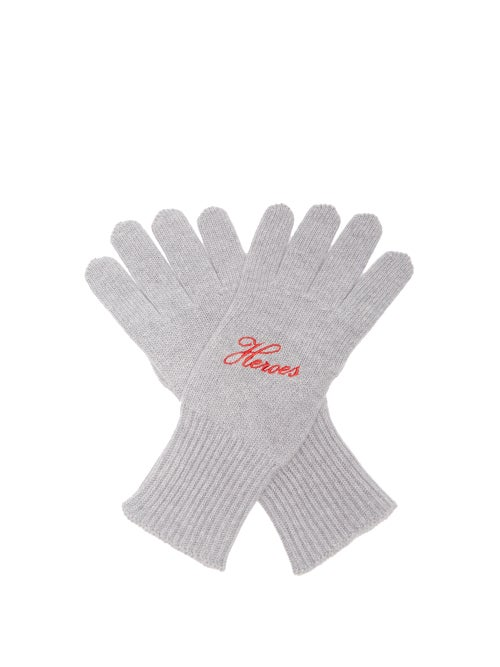 Raf Simons - Heroes Embroidered Wool-blend Gloves - Womens - Grey