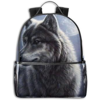 リュック 狼と月 バックパック ビジネスバッグ PCリュック 防水 大容量 多機能 軽量 遠足 旅行 アウトドア 大学生 中学生 おしゃれ 15.6インチ