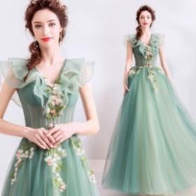 グリーンノースリーブ ロングドレス ショート丈  ブライズメイドドレス/フォーマルドレス パーティードレス イブニングドレス  二次会