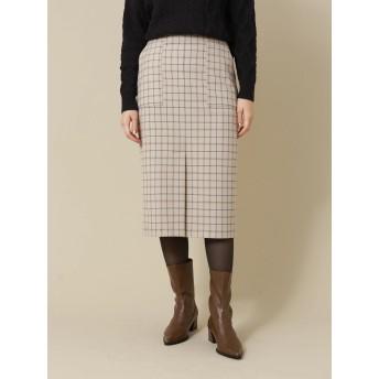【6,000円(税込)以上のお買物で全国送料無料。】P.チェック柄ナロースカート