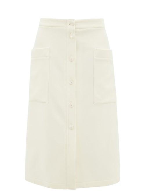Raey - Button-through A-line Wool-blend Midi Skirt - Womens - Ivory