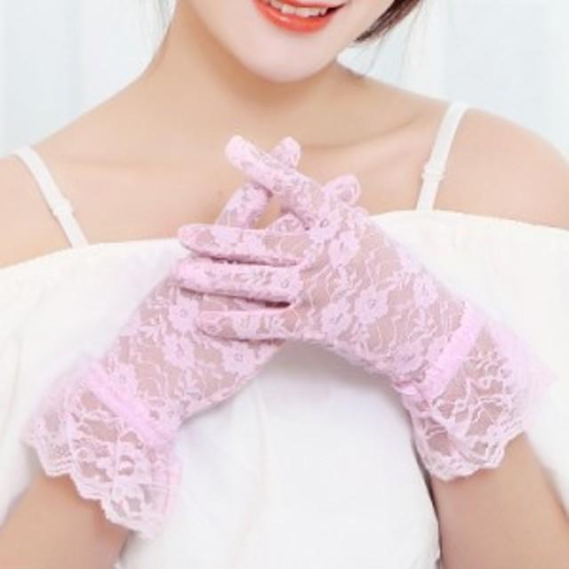 レース 手袋 ピンク Pink PINK pink 桃色 結婚式 パーティー セレモニー あすつく 総フラワーレースショートグローブ
