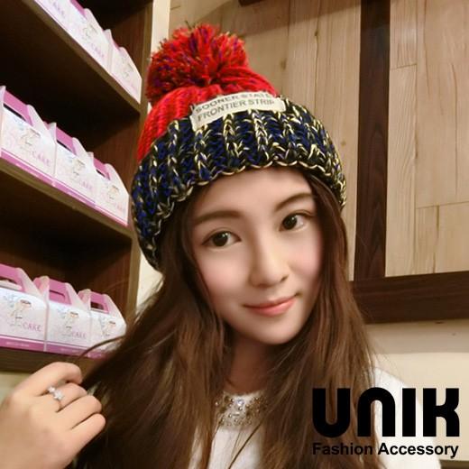 【現貨】UNIK 韓系混色徽章毛線帽(藍紅)