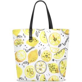 CW-Story レモン 革バッグ かわいい ハンドバッグ レディース 大容量 ズック サブバッグ 多機能バッグ
