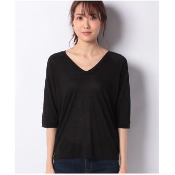 SISLEY モダールVネック7分袖Tシャツ・カットソー(ブラック)【返品不可商品】
