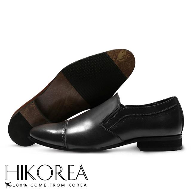 【HIKOREA】韓國空運/版型正常。男款簡約素面皮革拼接尖頭紳士皮鞋(73-346黑/現+預)