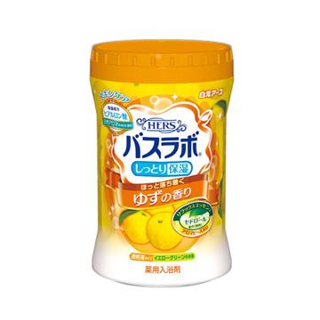 【日本 白元Earth】HERS 香氛 保濕 入浴劑 泡湯 溫泉粉 680g (柚子) -共三罐