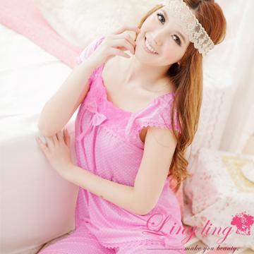 lingling A867-01嬌俏可愛玫瑰方領圓點睡衣+五分褲(二件式睡衣組)(甜心粉)