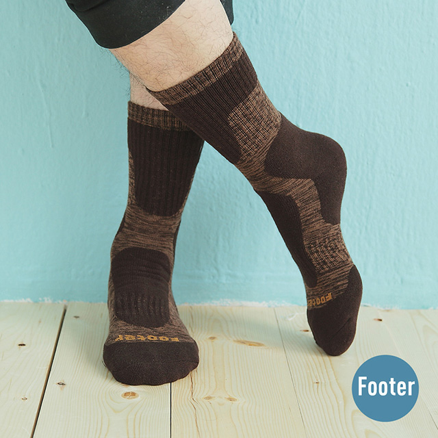 【Footer除臭襪】減壓顯瘦登山運動襪-男款T202-咖啡