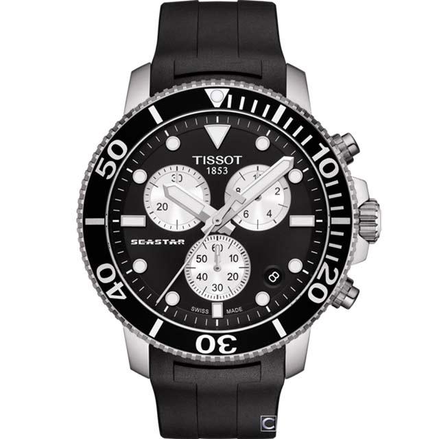 TISSOT 天梭 SEASTA海星計時潛水錶 T1204171705100 46mm