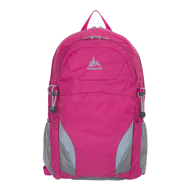 【ONE POLAR】亮彩蜂巢透氣後背包附雨罩 18L-桃紅 PL02323FC