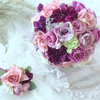 パープル系紫色の薔薇、ウェディングブーケ 送料無料