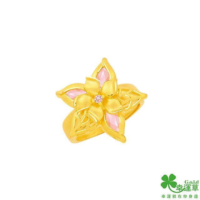 幸運草金飾 美麗境界黃金/水晶戒指