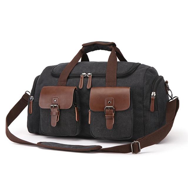 【品樂.CAMO】韓版復古風帆布手提肩背旅行包(黑色)