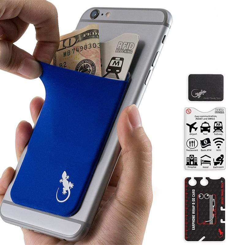 防盜卡夾手機貼- 藍