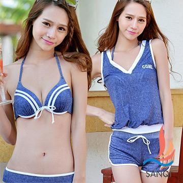 三奇 夏日甜美 四件式鋼圈比基尼泳衣(藍M,L)