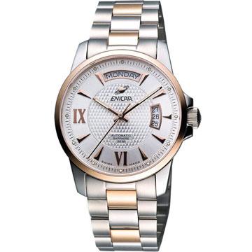 ENICAR 恆動經典日曆機械腕錶-銀/雙色版(169-50-338G)
