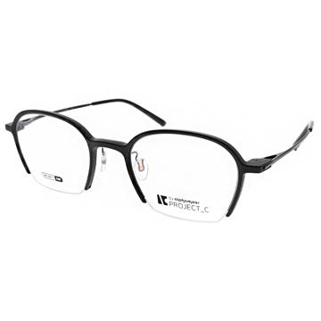Alphameer 光學眼鏡 俏皮造型半框款(磨砂黑-亮黑) #AM3901 C80