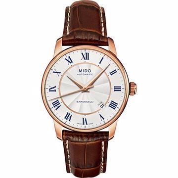 MIDO 美度 Baroncelli II 羅馬假期機械腕錶 銀x玫瑰金框 38mm M86002218