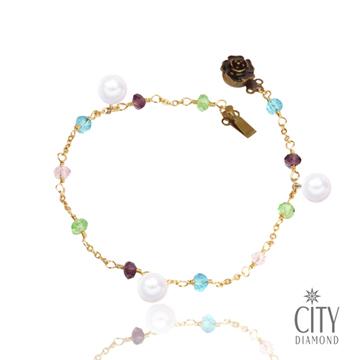 City Diamond引雅【手作設計系列】天然珍珠6.5MM彩珠玫瑰手鍊(黃K色)
