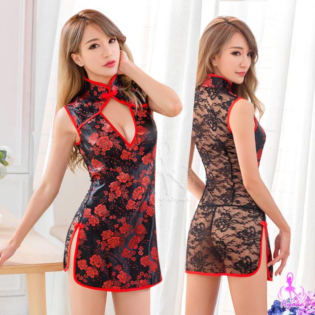 【Ayoka】角色扮演 黑紅撞色中國風旗袍角色扮演服二件組