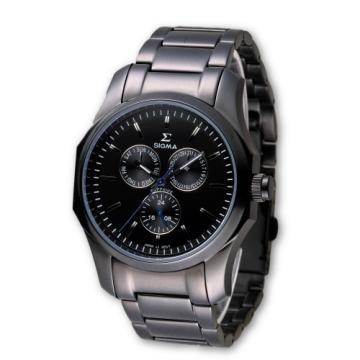 SIGMA 完美角度藍寶石鏡面黑鋼時尚腕錶/42mm/1018M-B