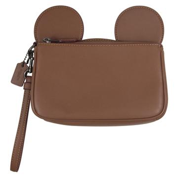 帝國 COACH最新限量迪士尼聯名款米奇耳朵手褂包(棕咖)