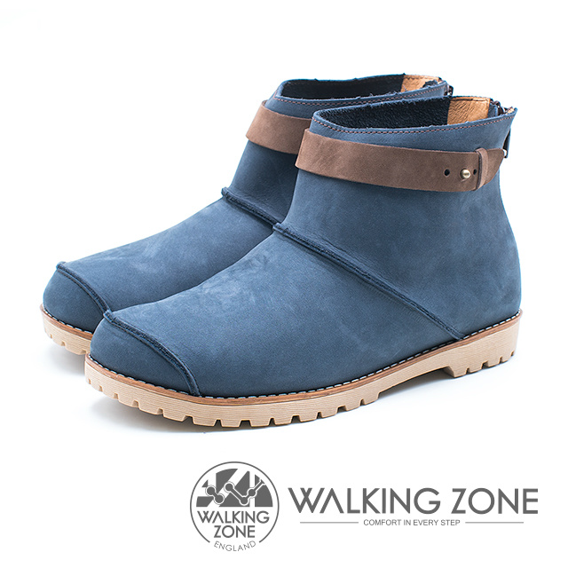 WALKING ZONE 皮革車縫拉鍊短靴 女鞋 藍 A55-832225-61