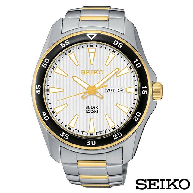SEIKO精工  領袖風雙色調太陽能石英腕錶 SNE394P1