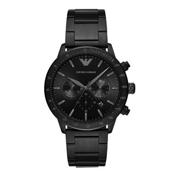 EMPORIO ARMANI 嶄新時尚三眼腕錶-黑