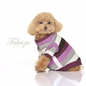 Fabrizio法比奇【Family。夥伴裝】SIDEKICK小飛俠圓領開襟三色寬條紋罩衫寵物衣- 桑椹紫