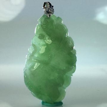 【森茂珠寶】緬甸天然翡翠A貨 冰種滿綠荷葉墜子 F1963