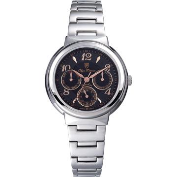 Olym Pianus 奧柏表 Vogue 輕時尚三眼計時都會腕錶 魅力黑 34mm  5686MCRS