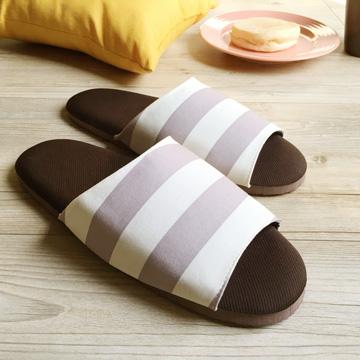 漫活咖啡紗家居室內拖鞋-條紋-灰