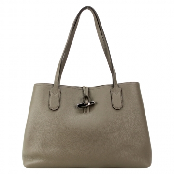 LONGCHAMP ROSEAU ESSENTIAL 竹節托特包 中 灰