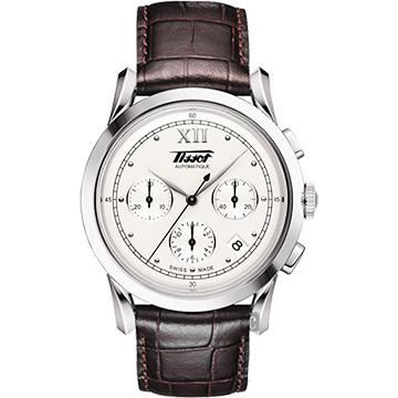TISSOT 天梭 Heritage 1948系列古典計時機械錶-銀x咖啡/39.5mm T66171233