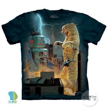 【摩達客】美國進口The Mountain 貓大戰機器人 純棉環保短袖T恤