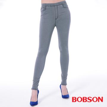 【BOBSON】女款中腰強彈力鬆緊帶緊身褲(黑灰8135-87)