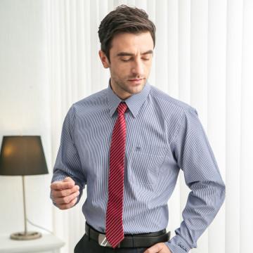 Valentino Rudy 范倫鐵諾.路迪 長袖襯衫 藏藍條 暗釘扣