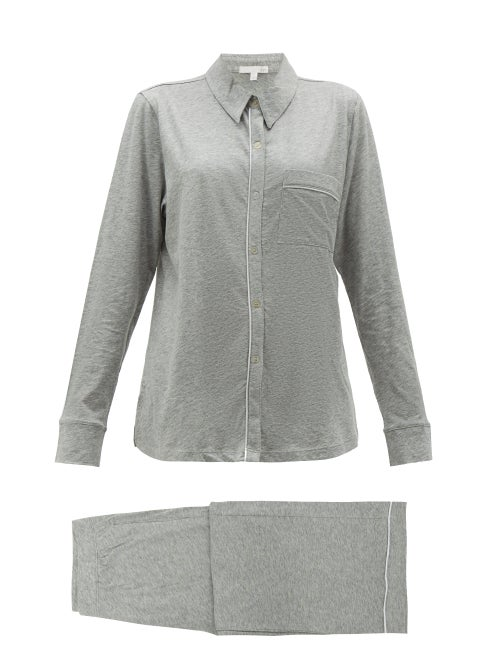 Skin - Penelope Pima-cotton Pyjamas - Womens - Light Grey