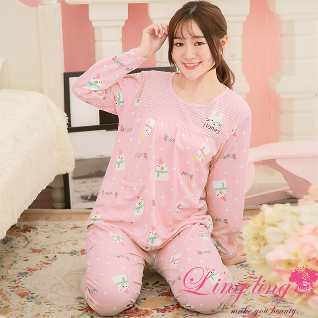 lingling A3890-01全尺碼-滿版白熊兔兔貼布牛奶絲長袖睡衣+長褲(二件式睡衣組)(可愛豆粉)