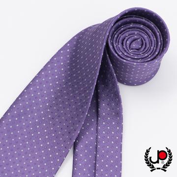 【極品西服】經典Teflon防潑水100%絲提花領帶_紫灰點點(YT5031)