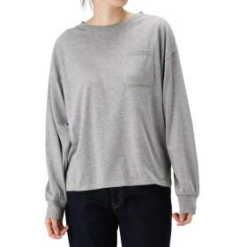 Tシャツ 長袖 ロンT クルーネック レディース ルーズ 長袖Tシャツ 無地 NVCW9005 グレー:L