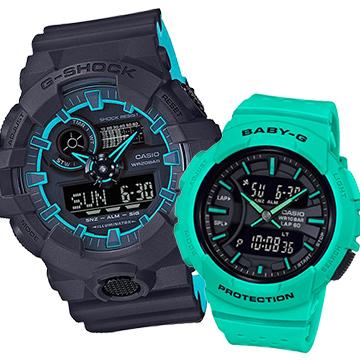 【CASIO】繽紛亮眼情侶運動休閒錶對錶(BGA-240-3A+GA-700SE-1A2)