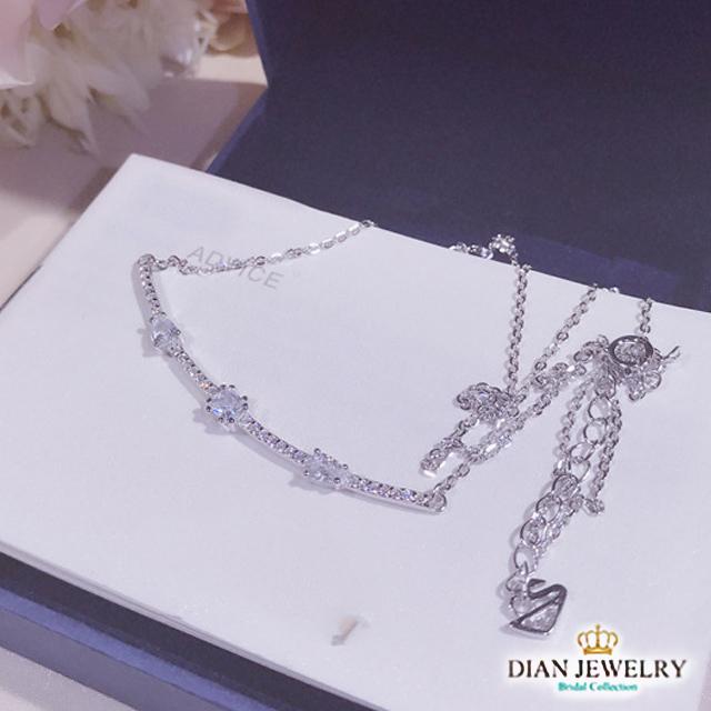 【DIAN 黛恩珠寶】微笑滿鑽系列 CZ鑽純銀項鏈