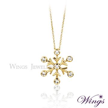 Wings 雪之戀 金色限量典藏版 925純銀八心八箭方晶鋯石項鍊 NW083