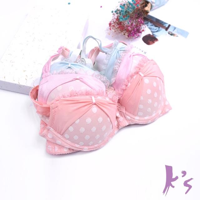 【K's 凱恩絲】有氧蠶絲可愛點點甜心集中內衣